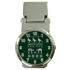 Holiday Party Attire Ugly Christmas Green Background Money Clip Watches