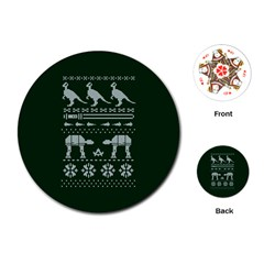 Holiday Party Attire Ugly Christmas Green Background Playing Cards (Round)