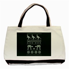 Holiday Party Attire Ugly Christmas Green Background Basic Tote Bag