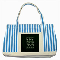 Holiday Party Attire Ugly Christmas Green Background Striped Blue Tote Bag