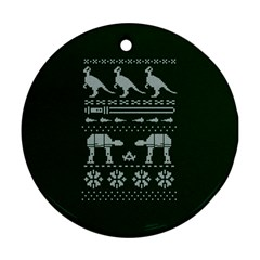 Holiday Party Attire Ugly Christmas Green Background Round Ornament (Two Sides)