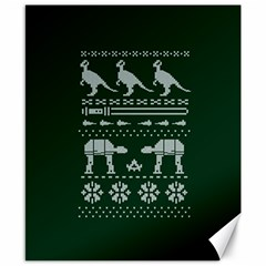 Holiday Party Attire Ugly Christmas Green Background Canvas 8  x 10