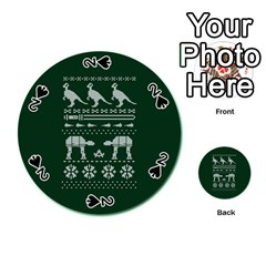 Holiday Party Attire Ugly Christmas Green Background Playing Cards 54 (Round)