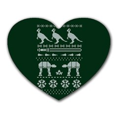 Holiday Party Attire Ugly Christmas Green Background Heart Mousepads
