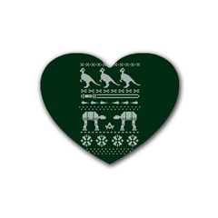 Holiday Party Attire Ugly Christmas Green Background Heart Coaster (4 pack)