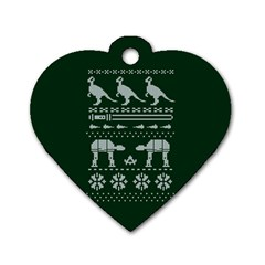 Holiday Party Attire Ugly Christmas Green Background Dog Tag Heart (One Side)