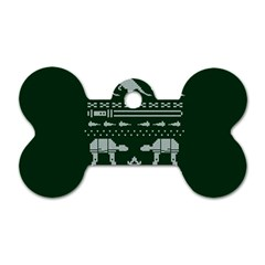 Holiday Party Attire Ugly Christmas Green Background Dog Tag Bone (One Side)