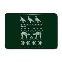 Holiday Party Attire Ugly Christmas Green Background Small Doormat