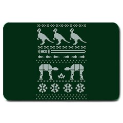 Holiday Party Attire Ugly Christmas Green Background Large Doormat