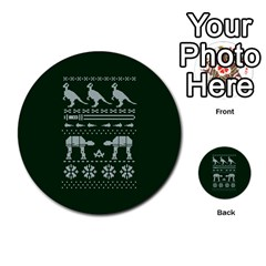 Holiday Party Attire Ugly Christmas Green Background Multi Purpose Cards (round)