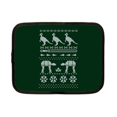 Holiday Party Attire Ugly Christmas Green Background Netbook Case (Small)
