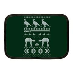Holiday Party Attire Ugly Christmas Green Background Netbook Case (Medium)