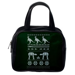 Holiday Party Attire Ugly Christmas Green Background Classic Handbags (One Side)