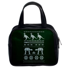 Holiday Party Attire Ugly Christmas Green Background Classic Handbags (2 Sides)