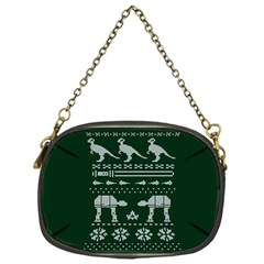 Holiday Party Attire Ugly Christmas Green Background Chain Purses (One Side)