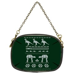 Holiday Party Attire Ugly Christmas Green Background Chain Purses (Two Sides)