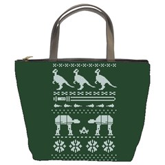 Holiday Party Attire Ugly Christmas Green Background Bucket Bags