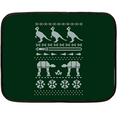 Holiday Party Attire Ugly Christmas Green Background Fleece Blanket (Mini)