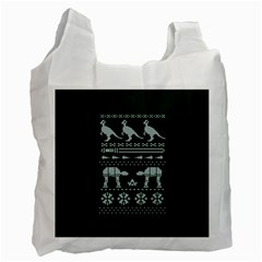 Holiday Party Attire Ugly Christmas Green Background Recycle Bag (One Side)