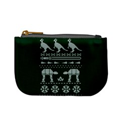 Holiday Party Attire Ugly Christmas Green Background Mini Coin Purses