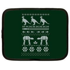 Holiday Party Attire Ugly Christmas Green Background Netbook Case (XXL)