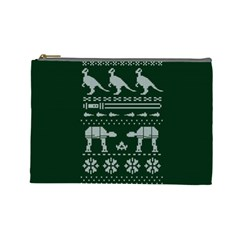 Holiday Party Attire Ugly Christmas Green Background Cosmetic Bag (Large)