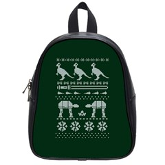 Holiday Party Attire Ugly Christmas Green Background School Bags (Small)