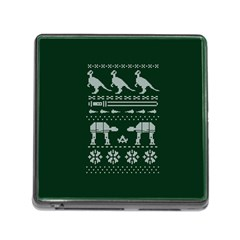 Holiday Party Attire Ugly Christmas Green Background Memory Card Reader (square)