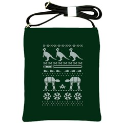 Holiday Party Attire Ugly Christmas Green Background Shoulder Sling Bags