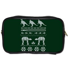 Holiday Party Attire Ugly Christmas Green Background Toiletries Bags 2-Side