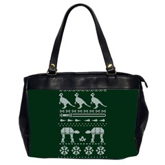 Holiday Party Attire Ugly Christmas Green Background Office Handbags (2 Sides)