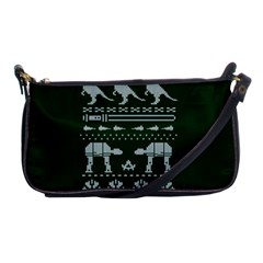 Holiday Party Attire Ugly Christmas Green Background Shoulder Clutch Bags