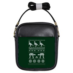Holiday Party Attire Ugly Christmas Green Background Girls Sling Bags