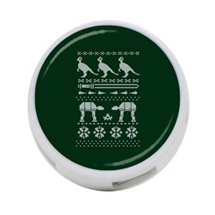 Holiday Party Attire Ugly Christmas Green Background 4-Port USB Hub (One Side)