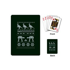 Holiday Party Attire Ugly Christmas Green Background Playing Cards (Mini)