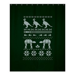 Holiday Party Attire Ugly Christmas Green Background Shower Curtain 60  x 72  (Medium)