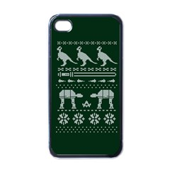 Holiday Party Attire Ugly Christmas Green Background Apple iPhone 4 Case (Black)