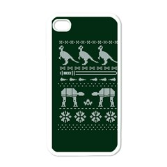 Holiday Party Attire Ugly Christmas Green Background Apple iPhone 4 Case (White)