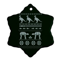 Holiday Party Attire Ugly Christmas Green Background Snowflake Ornament (2-Side)