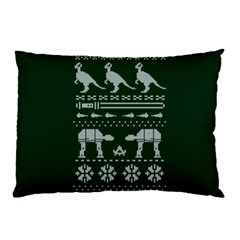 Holiday Party Attire Ugly Christmas Green Background Pillow Case (Two Sides)