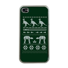 Holiday Party Attire Ugly Christmas Green Background Apple iPhone 4 Case (Clear)