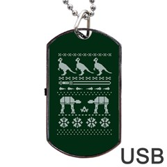 Holiday Party Attire Ugly Christmas Green Background Dog Tag Usb Flash (two Sides)