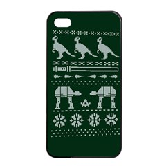Holiday Party Attire Ugly Christmas Green Background Apple iPhone 4/4s Seamless Case (Black)