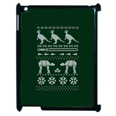 Holiday Party Attire Ugly Christmas Green Background Apple iPad 2 Case (Black)