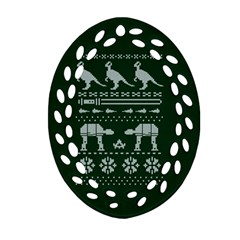 Holiday Party Attire Ugly Christmas Green Background Ornament (Oval Filigree)