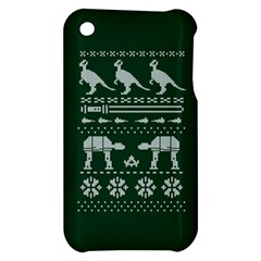 Holiday Party Attire Ugly Christmas Green Background Apple iPhone 3G/3GS Hardshell Case
