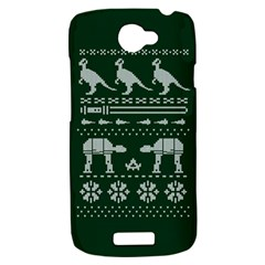 Holiday Party Attire Ugly Christmas Green Background HTC One S Hardshell Case
