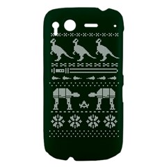 Holiday Party Attire Ugly Christmas Green Background HTC Desire S Hardshell Case
