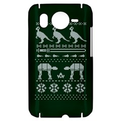 Holiday Party Attire Ugly Christmas Green Background HTC Desire HD Hardshell Case