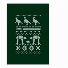 Holiday Party Attire Ugly Christmas Green Background Small Garden Flag (Two Sides)